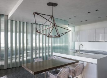 Private Residence | Luminous Fluted Glass Walls in Kitchen