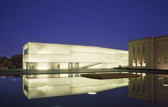 Channel glass at night at the Nelson-Atkins Museum of Art
